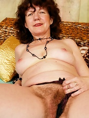 Horny Old Broad Has Bushy Beaver!