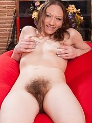 Cara Banx Is Relaxing In Her Bikini, While On Her Red Pouf. She Shows Us Her Hairy Pits And Then Strips Naked. She Has Such A Hairy Pussy, And Strokes