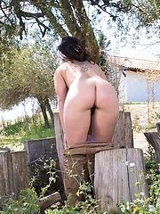 Sally Is Outdoors Enjoying The Sun And Wants To Get Some Sun On Her Naked Body. She Strips Naked And Shows Off Her 36c Breasts And Hairy Pussy. Her Bo